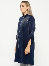 Navy Blue - Polo neck - Plus Size Tunic