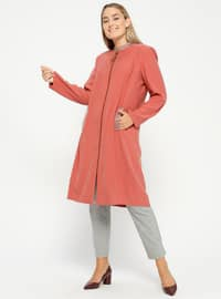 Salmon - Unlined - Crew neck - Plus Size Coat
