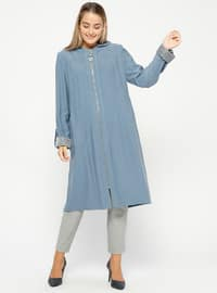 Blue - Unlined - Plus Size Coat