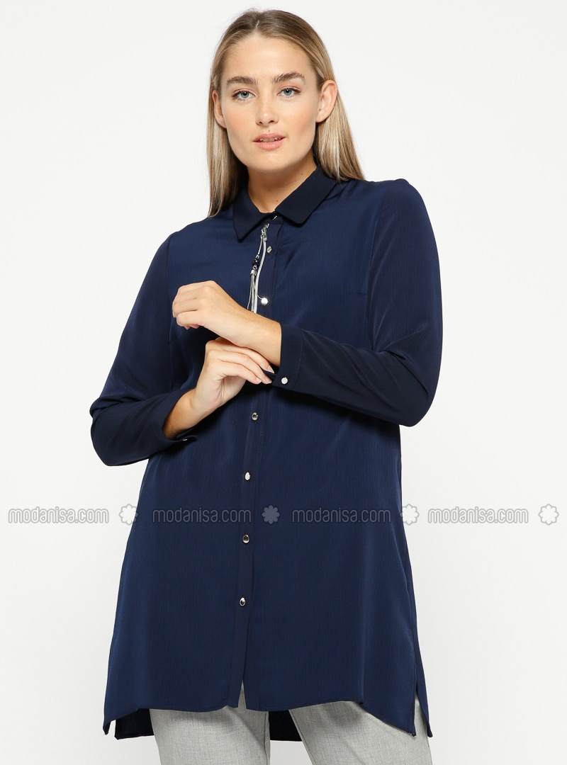 Navy Blue - Point Collar - Plus Size Tunic