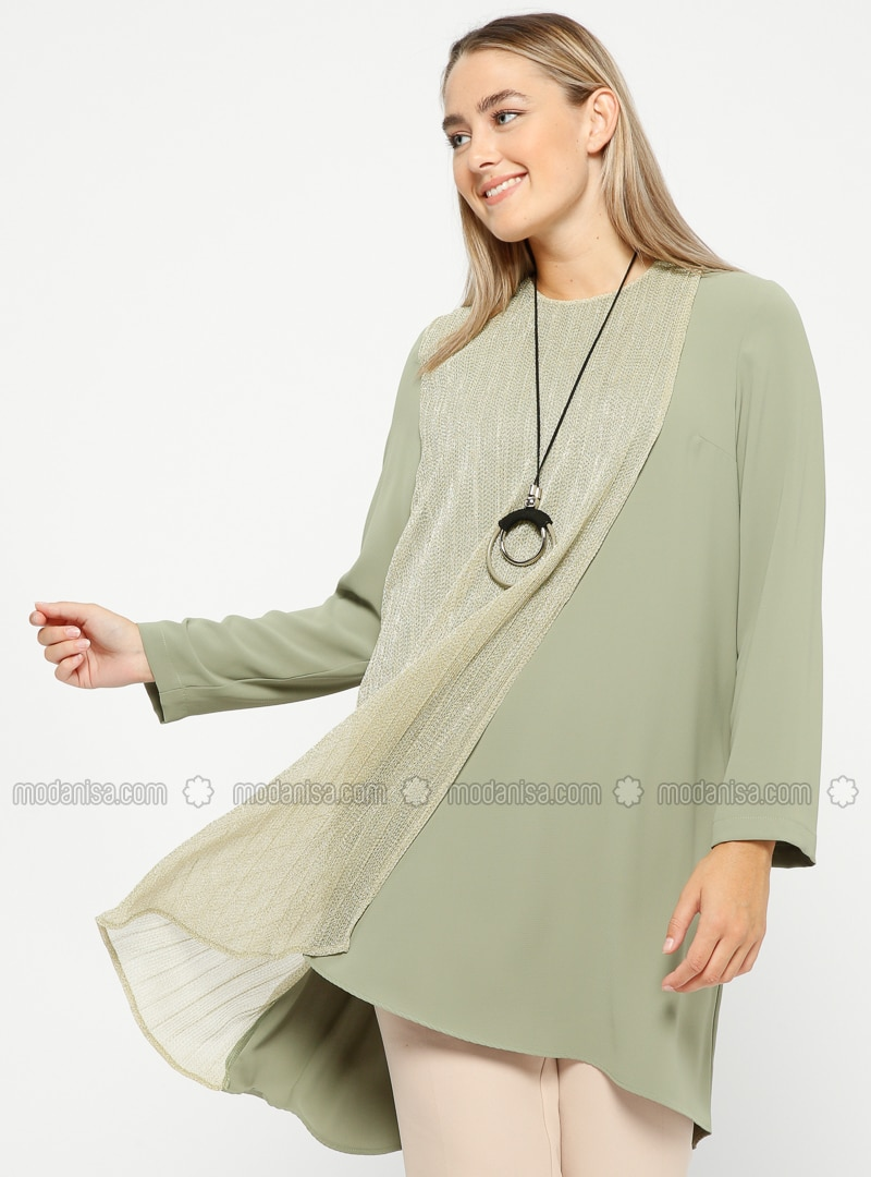 Green - Crew neck - Plus Size Tunic