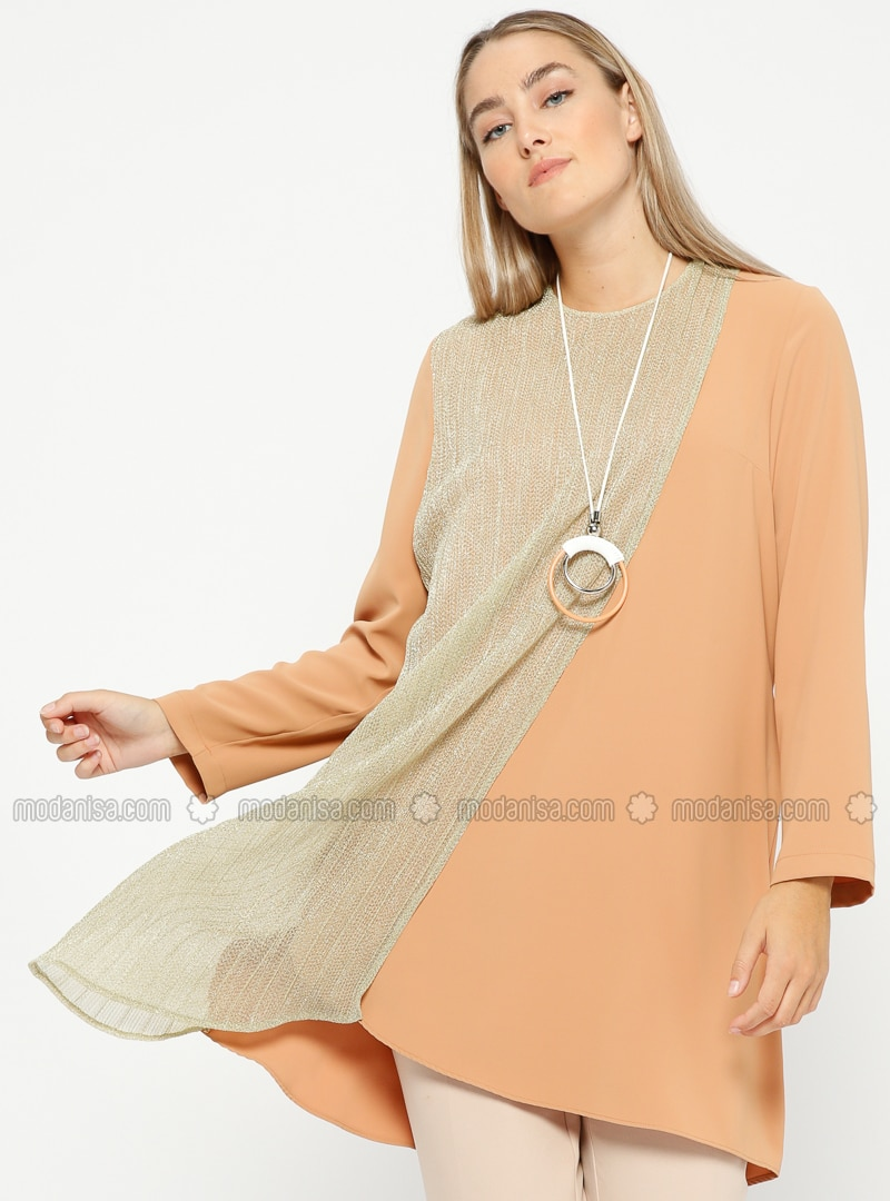 Salmon - Crew neck - Plus Size Tunic