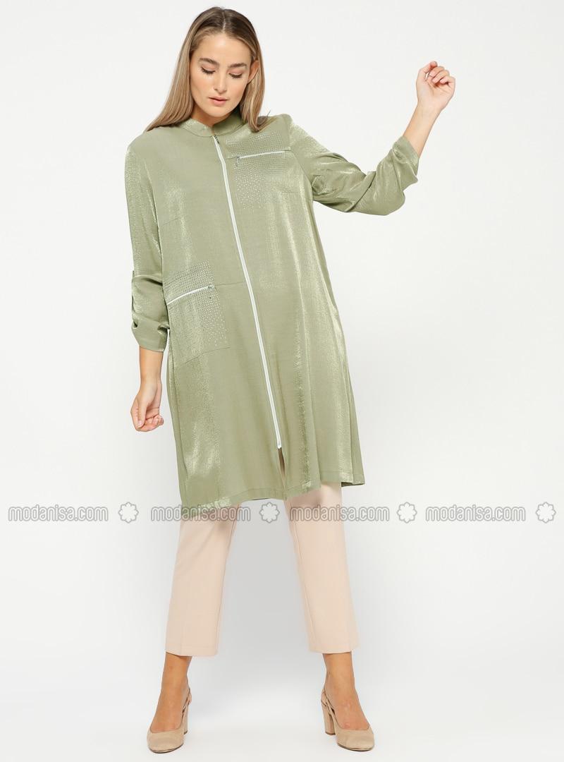 Khaki - Polo neck - Plus Size Tunic