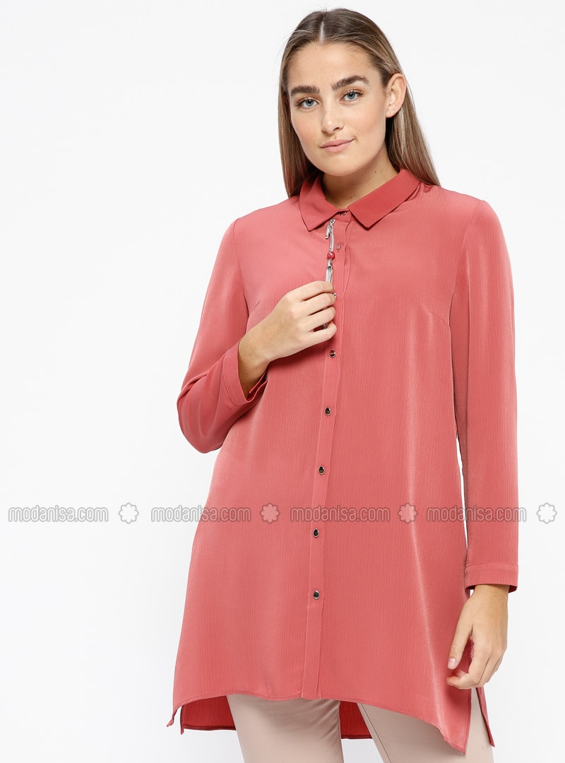 Dusty Rose - Terra Cotta - Point Collar - Plus Size Tunic