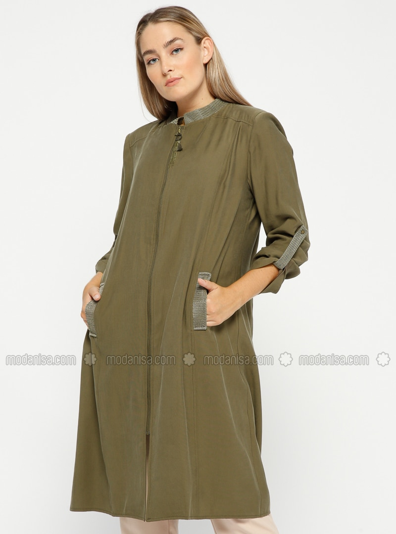 Khaki - Unlined - Crew neck - Plus Size Coat