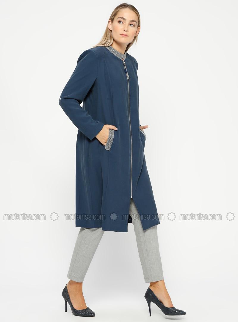 Indigo - Unlined - Crew neck - Plus Size Coat