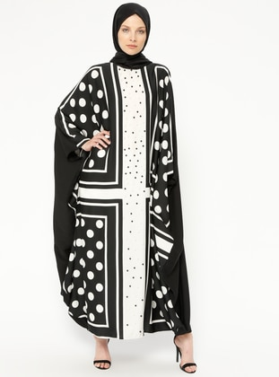 Black - Ecru - Multi - Unlined - Crew neck - Abaya