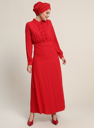 Red - Point Collar - Fully Lined - Dresses