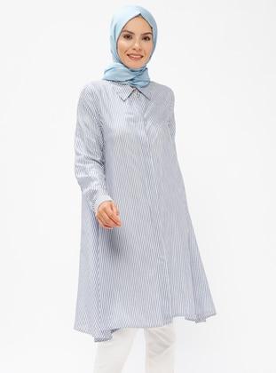 Blue – Navy Blue – Stripe – Point Collar – Viscose – Tunic – Zenane