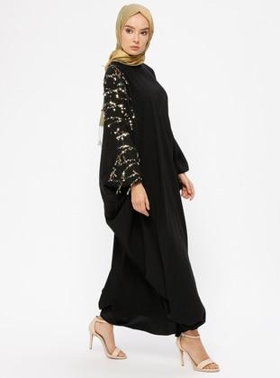 Payetli Salaş Elbise - Siyah Gold - Filizzade Ürün Resmi