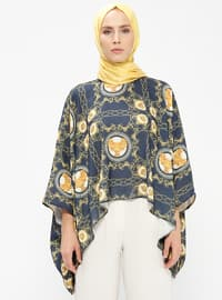 Navy Blue - Mustard - Multi - Crew neck - Unlined - Poncho