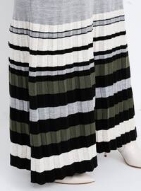 Gray - Stripe - Unlined - Crew neck - Acrylic -  - Plus Size Dress