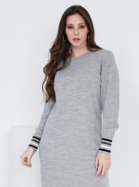 Gray - Stripe - Unlined - Crew neck - Acrylic -  - Plus Size Dress