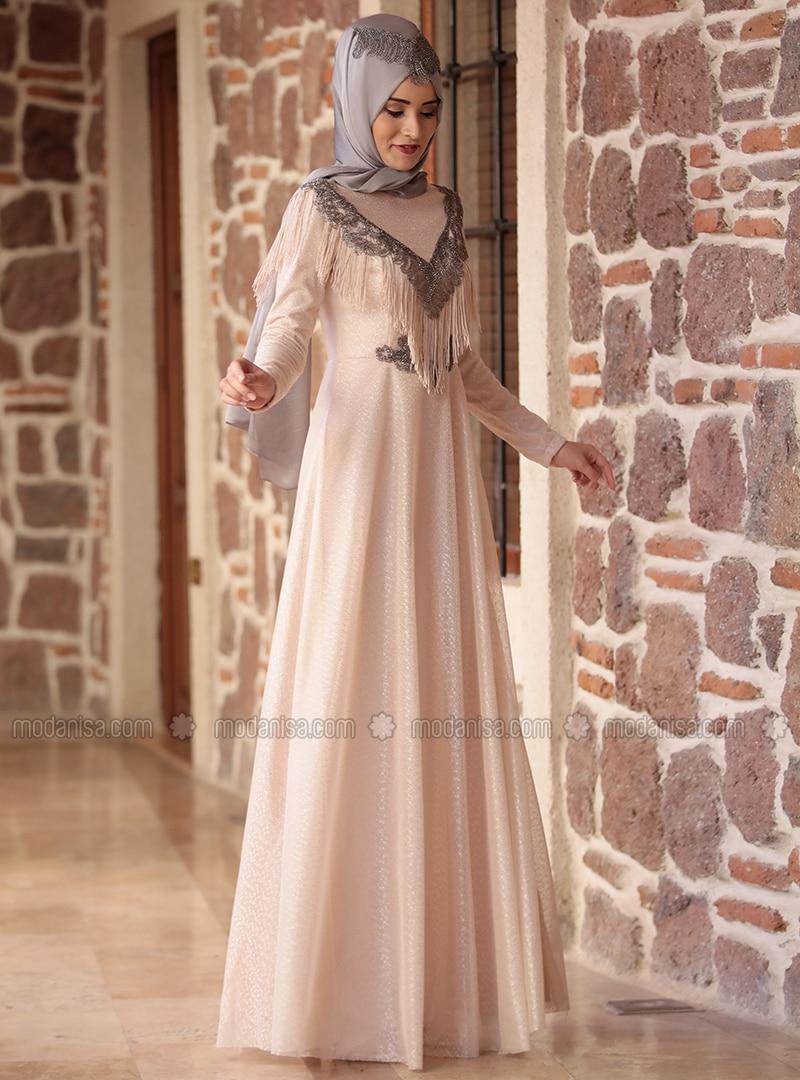 Cream - Fully Lined - Crew neck - Muslim Evening Dress