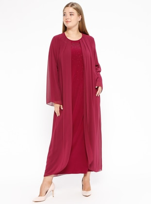 Fuchsia - Unlined - Crew neck - Muslim Plus Size Evening Dress