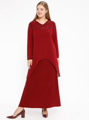 Maroon - Unlined - V neck Collar - Muslim Plus Size Evening Dress