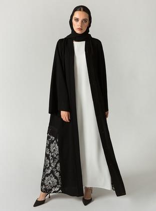 Black V Neck Collar Abaya