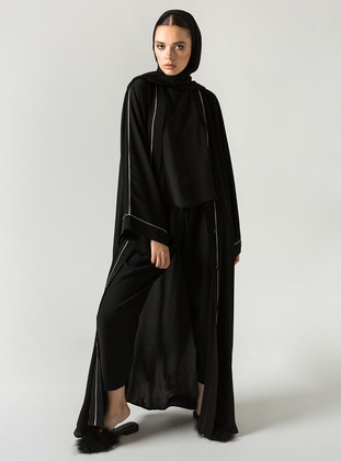 Black - V neck Collar - Abaya - ZEYYEN