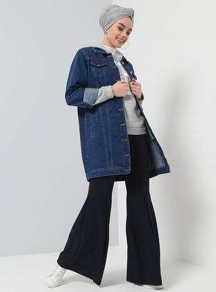 Blue - Unlined - Point Collar - Cotton - Denim - Jacket - Benin