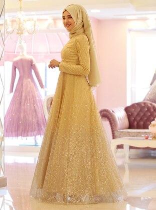 Golden tone - Unlined - Crew neck - Muslim Evening Dress