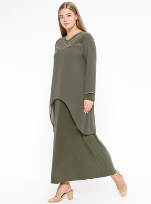 Green - Unlined - V neck Collar - Muslim Plus Size Evening Dress