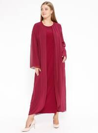 Fuchsia - Unlined - Crew neck - Muslim Plus Size Evening Dress