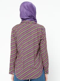 Purple - Multi - Shawl Collar - Viscose - Blouses
