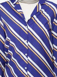 Purple - Stripe - Shawl Collar - Viscose - Blouses