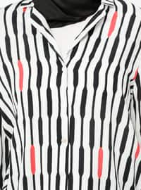 Black - White - Stripe - Shawl Collar - Viscose - Blouses
