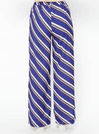Purple - Stripe - Viscose - Pants
