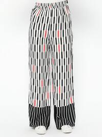 Black - White - Multi - Viscose - Pants