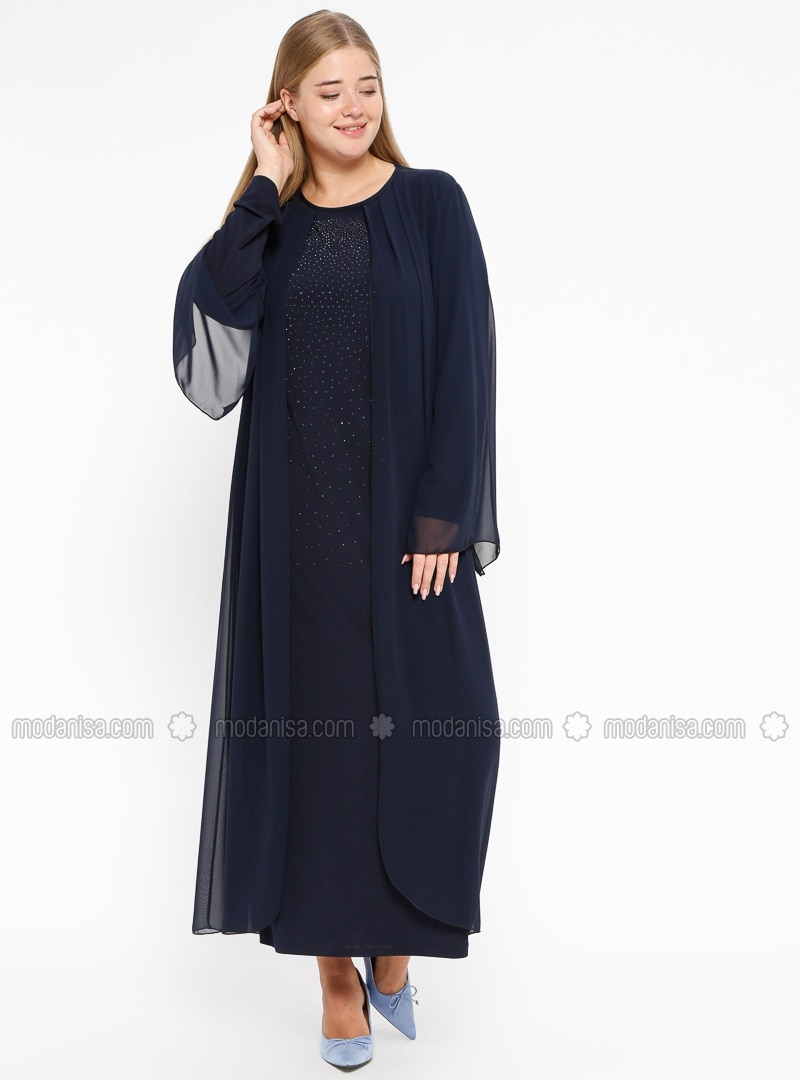 Navy Blue - Unlined - Crew neck - Muslim Plus Size Evening Dress