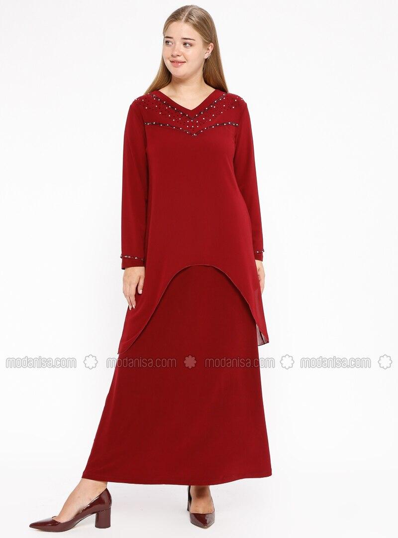 Maroon - Unlined - V neck Collar - Muslim Plus Size Evening Dress