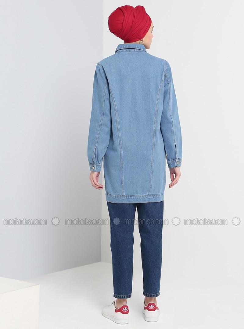 Doublé Français Tissu Jean Non Coton Bleu Col Veste MpLUzqjSVG