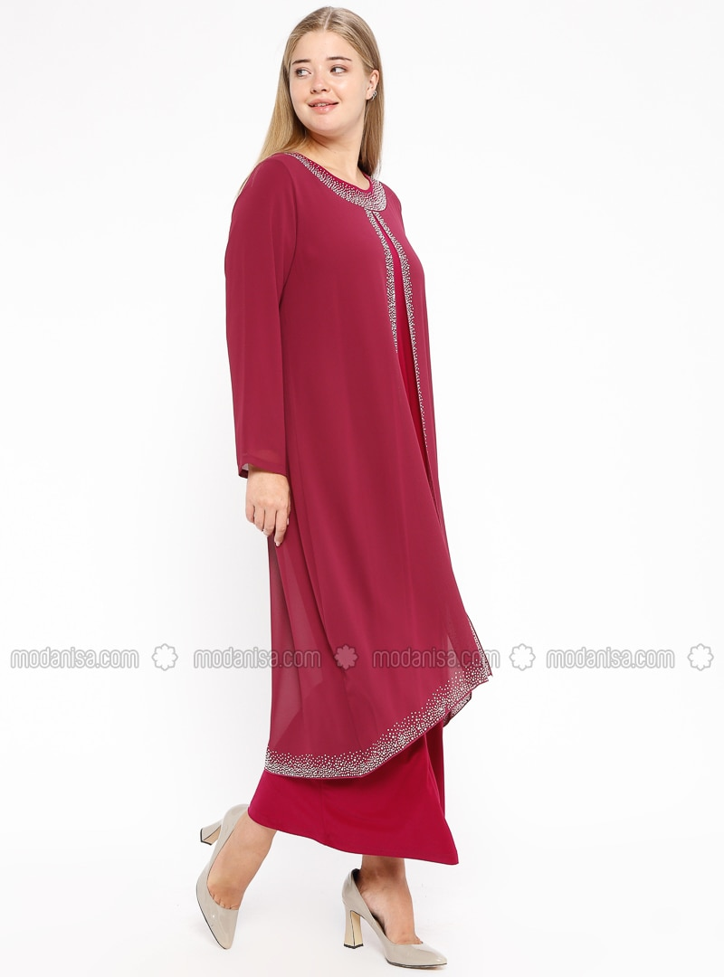 Plum - Unlined - Crew neck - Muslim Plus Size Evening Dress