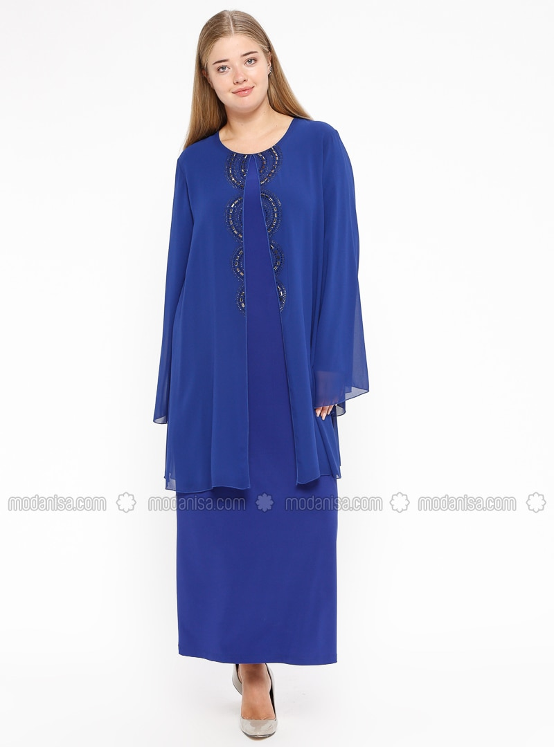 Saxe - Unlined - Crew neck - Muslim Plus Size Evening Dress