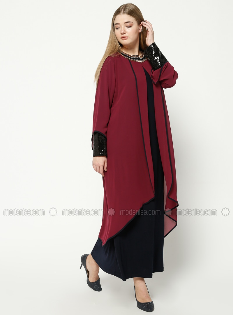 c9eb96a3bdca4 Navy Blue Cherry Unlined Crew neck Muslim Plus Size Evening Dress Havva Ana