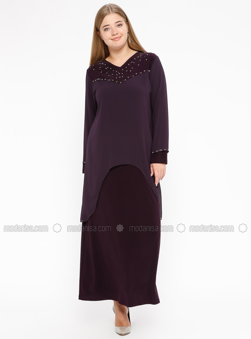 Purple - Unlined - V neck Collar - Muslim Plus Size Evening Dress
