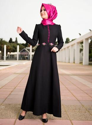Kanaviçe Elbise - Siyah - Nurgül Çakır Ürün Resmi