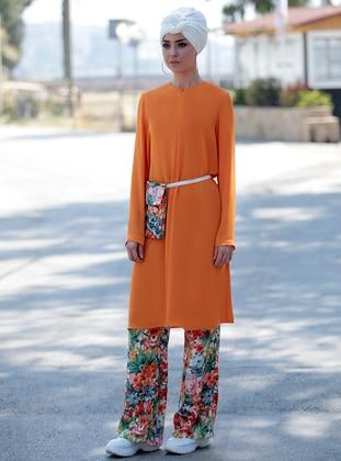 Orange - Floral - Unlined - Suit
