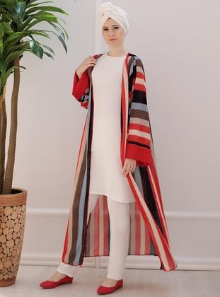 Red - Cream - Stripe - Cardigan