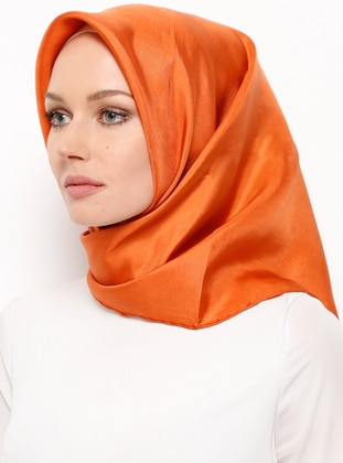 Tan - Plain - %100 Silk - Scarf - Balse Eşarp