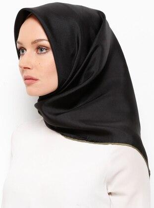 Black - Khaki - Plain - %100 Silk - Scarf