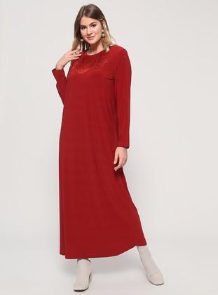 Tan - Terra Cotta - Unlined - Crew neck - Plus Size Dress