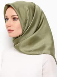 Khaki - Plain - %100 Silk - Scarf
