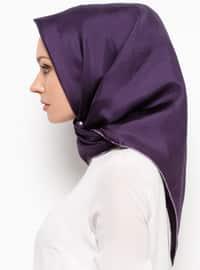 Purple - Plain - %100 Silk - Scarf