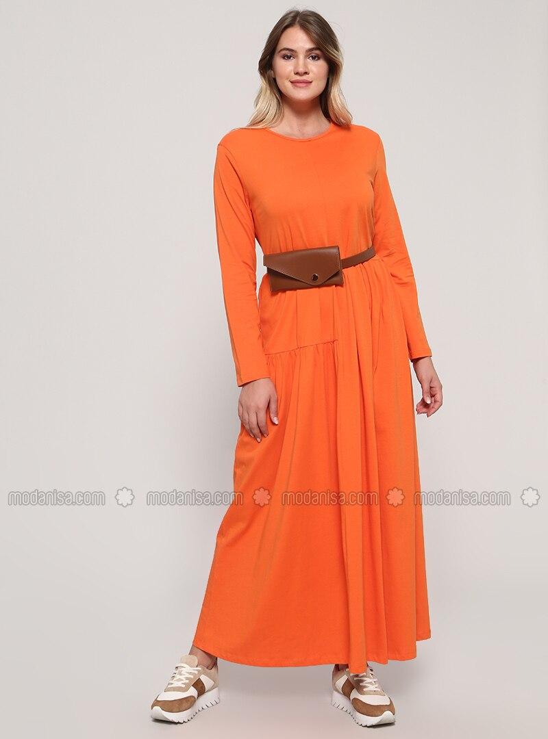 Orange - Unlined - Crew neck - Cotton - Plus Size Dress