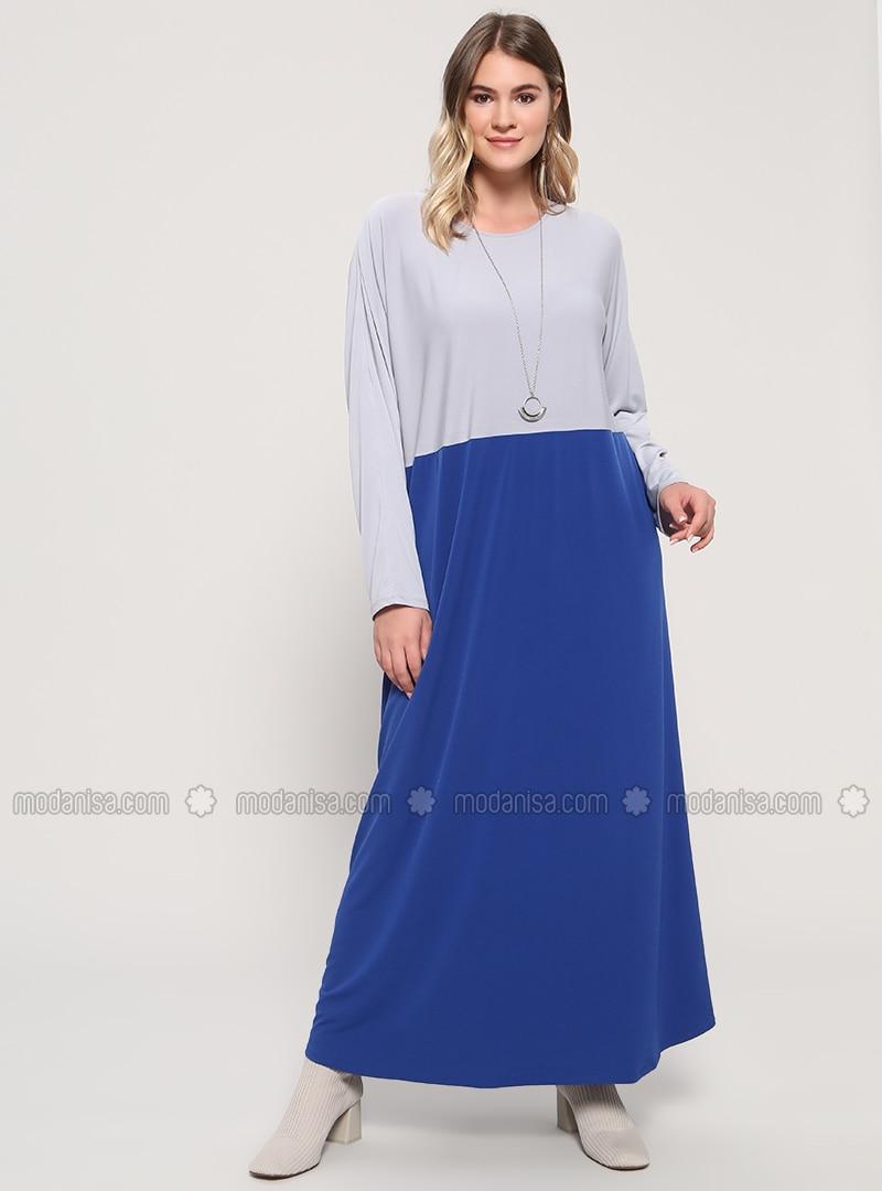 Gray - Saxe - Unlined - Crew neck - Plus Size Dress