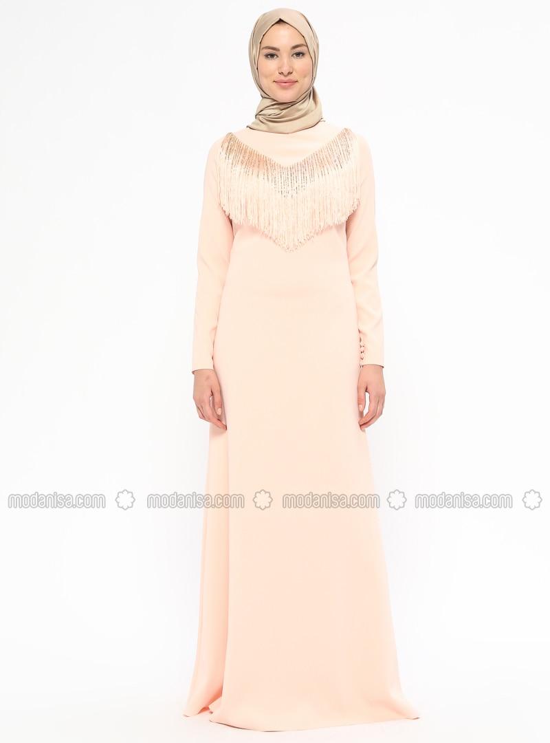 fa89e94ebf Salmon - Fully Lined - Crew neck - Muslim Evening Dress