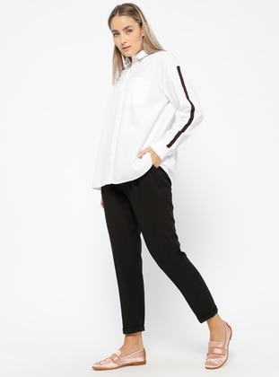 Black - Plus Size Pants - Veteks Line